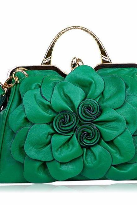 Luxury Dark Green Purse Orange Shoulder Bag Fashion Show Big Flower Handbags for Women Leather Bags