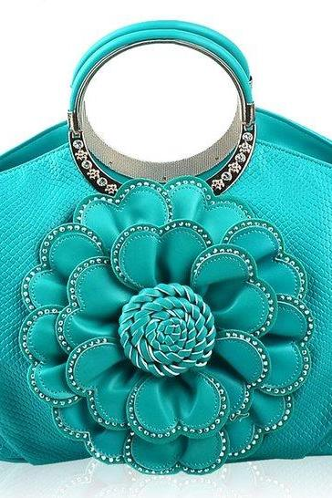 High Quality Handbag for Women's Tote Purse Turquoise Tote for Women Floral Aqua Blue Purses