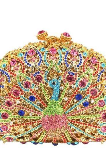 Sequined Peacock Clutch for Women High Quality Golden Peacock Bags