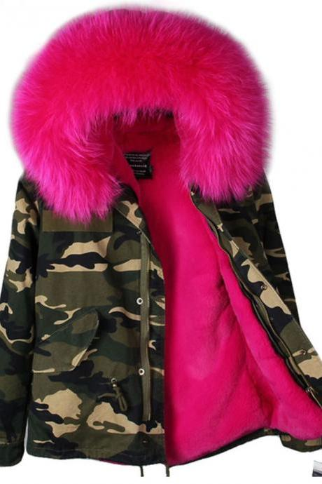 Hot Pink Parkas for Women Snow Skiing with Homogeneous Hood with Raccoon Fur Camouflage Parkas
