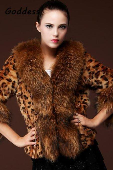 Winter Coats Cropped Leopard Overcoat for Winter High Quality Thick and Warm Women Brown Leopard Fur Jacket