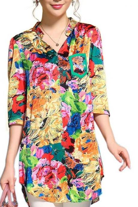 Multicolored Quarter Sleeve Printed Tops for Women Summer Blouse Chiffon Blouses True to Size USA Based Sizes Blouses