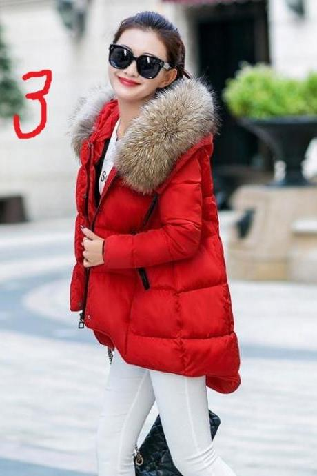 New Arrival Thick Red Down Parka for Women Raccoon Fur Winter Red Coats 90% Down Filling