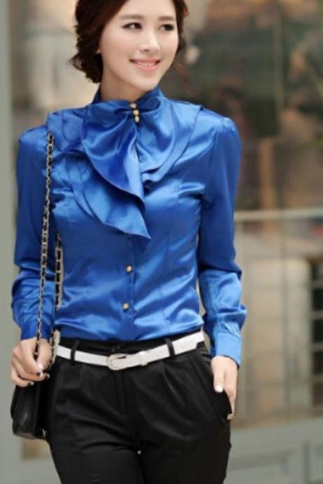 Ruffled Blouse Classic ROYAL BLUE SILK Casual Blouse Ruffles Blouses for Women Work,Offices