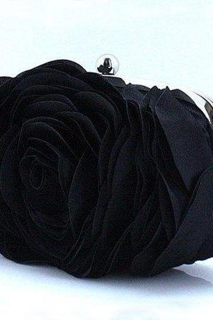 Evening Purse for Women Black Clutch for Elegant Women-Big Rose Clutch-Black Purses