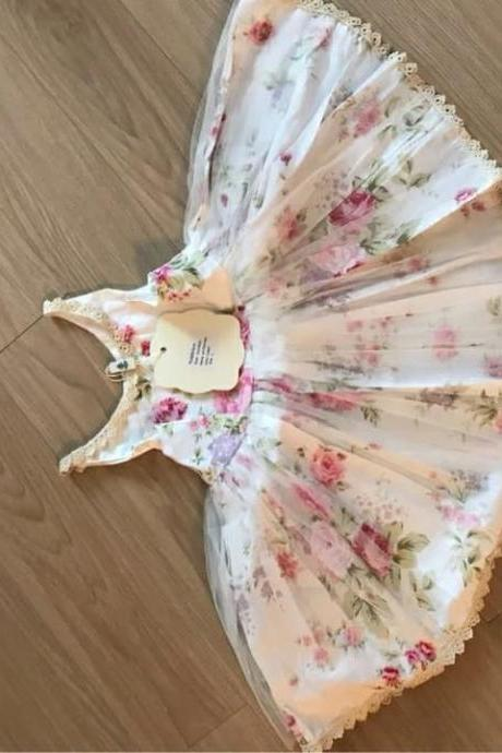 Sleeveless White TUTU Dress for Girls Rose Dress - Small Rose Pattern Dress Summer Dress