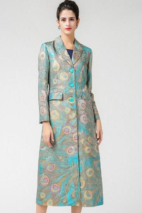 Plus Sizes 4XL,5XL Silk Jacquard Peacock Pattern Luxury Trench Coats for Women Peacock Coats Peacock Color