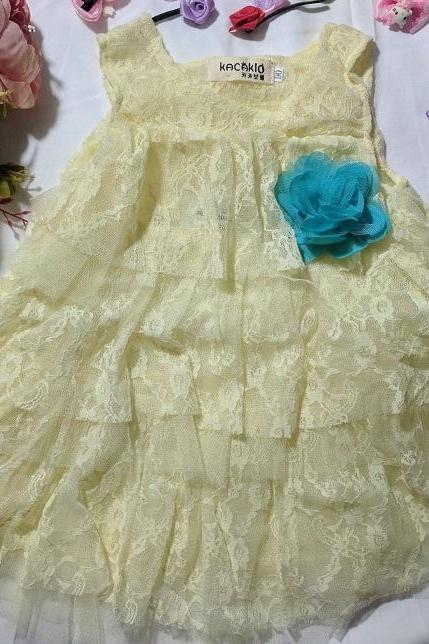 Ready to Ship Yellow Dress for Baby Girls Dress Tops Floral Lace for Baby Girls