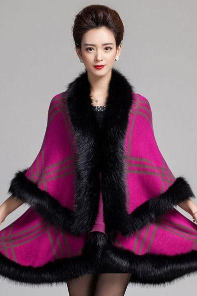 Magenta Shawl for Women Hot Pink Shoulder Wraps Warm and Thick Wide Checkered Wraps for Women