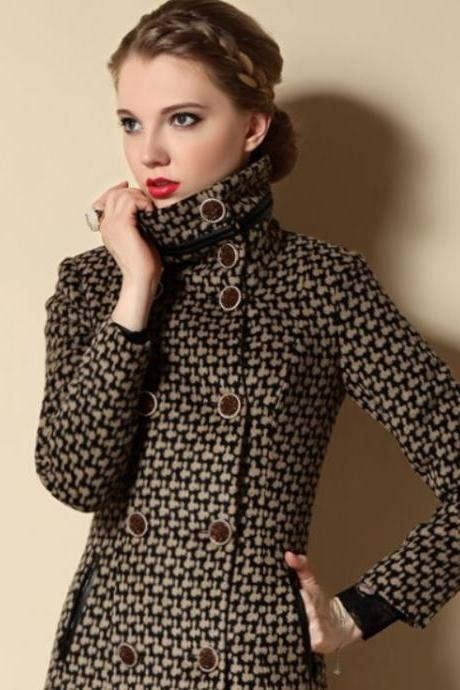 Fashion Winter Coats Plaid Turtleneck Winter Trench Coats for Women Fashion Brown Winter Coats