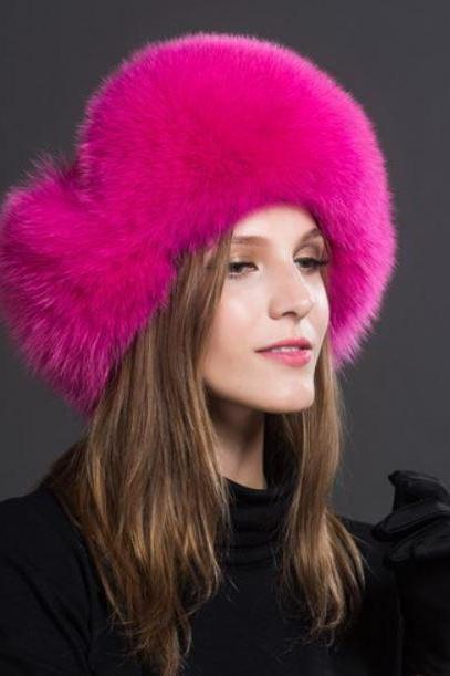 Hot Pink Hats Russian Fur Hats for Women Fashion Bomber Cap100% Real Raccoon Fur Ball Hats Winter Hats for Women