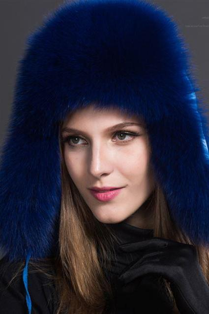 Royal Blue Hats Russian Fur Hats for Women Fashion Bomber Cap100% Real Raccoon Fur Ball Hats Winter Hats for Women
