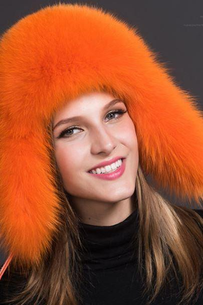 Orange Hats Russian Fur Hats for Women Fashion Bomber Cap100% Real Raccoon Fur Ball Hats Winter Hats for Women