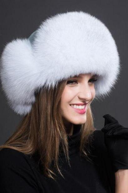 White Beanie White Bridal Hats Russian Fur Hats for Women Fashion Bomber Cap100% Real Raccoon Fur Ball Hats Winter Hats for Women