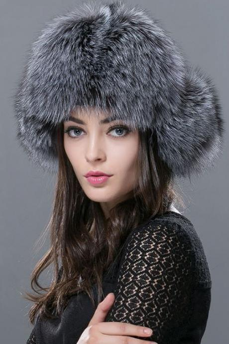 Gray Beanie Gray Bridal Hats Russian Fur Hats for Women Fashion Bomber Cap100% Real Raccoon Fur Ball Hats Winter Hats for Women