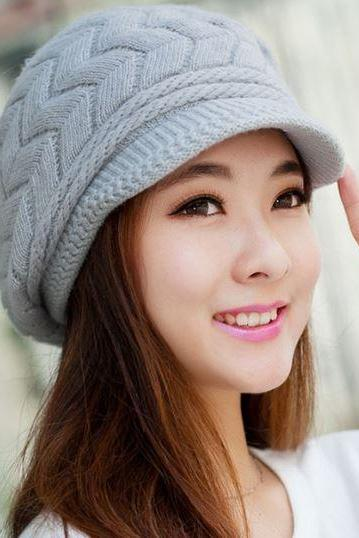 Gray Hats for Women 7 Colors Slouchy Hats for Teen Girls with Brim Knitted hats Thick and Warm Beanies for Women