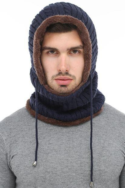 One Piece Blue Winter Hats for Men Wool Knitted with Matching Attached Neck Warmer for Men