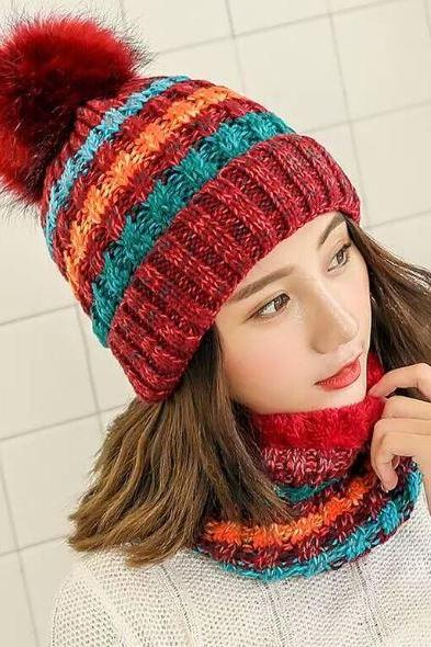 Red Winter Hats for Women Multicolored Thick and warm Knitted with Matching Neck Warmers for Women Teen Girls and Girls