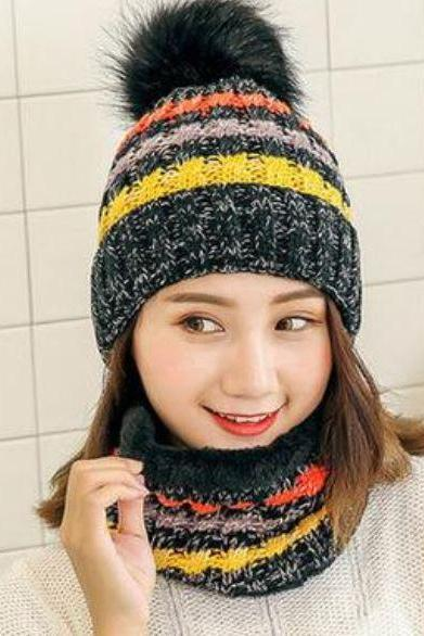 Black Winter Hats for Women Multicolored Thick and warm Knitted with Matching Black Neck Warmers for Women Teen Girls and Girls