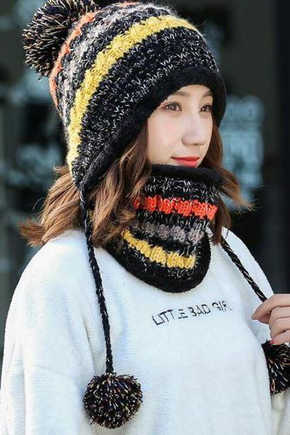 Black Winter Hats for Girls Pink Scarf Multicolored Pompom Knitted with Matching Neck Warmers for Women Teen Girls and Girls