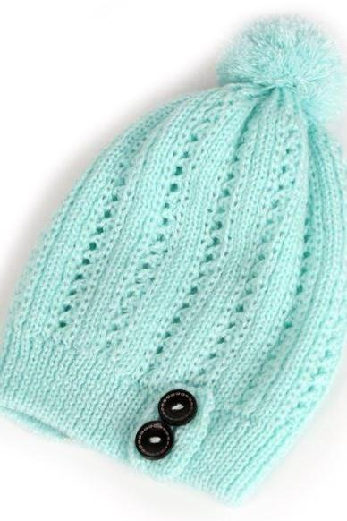 Knitted Hollow Out Mint Green Beanies for Girls Mint Green Beanie for Teen Girls Winter Hats for Women with 2 Buttons
