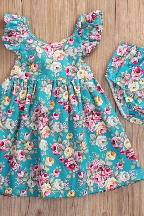 Floral Dress for Baby Girls Cute Dresses Fashion Girls Dress with Underwear