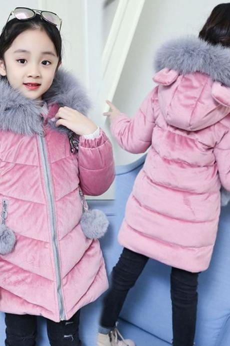 RSS Boutique Toddler Girls Pink Parkas Dragonfly Patchwork Velvet Texture Thick Baby Jackets