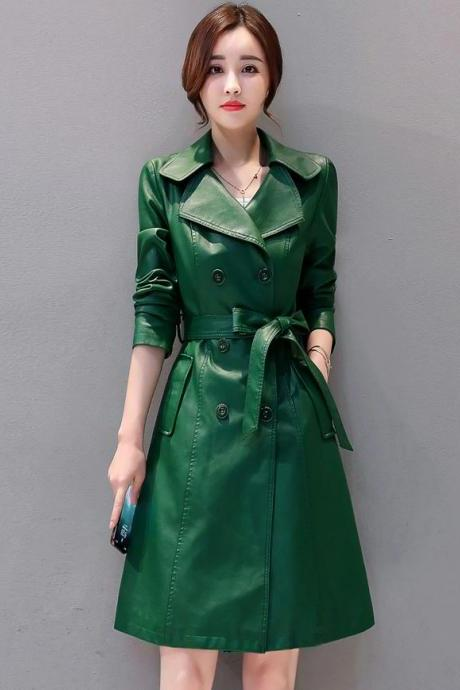Princess Saria's Green Leather Trench Coats True Color Sheepskin Coats RSS Boutique