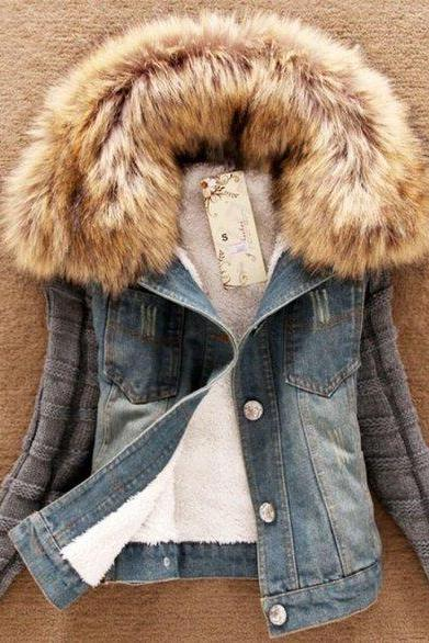 New Arrival Stretchable Denim Jacket for Girls Teenage Girls and Women Detachable Lamb Fur RSS Boutique