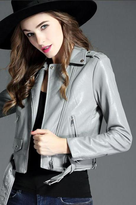 RSS Boutique Gray Leather Jackets New Fashion Cropped Jacket for Women New Arrival Leather Women Jacket