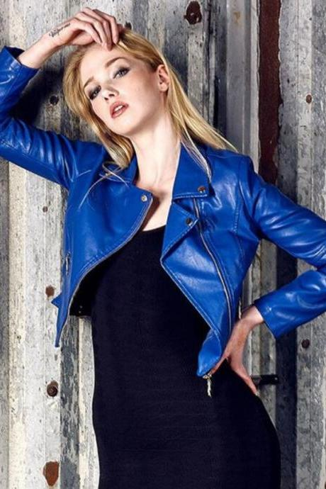 RSS Boutique Blue Leather Jackets New Blue Cropped Jackets for Women New Arrival Leather Jacket
