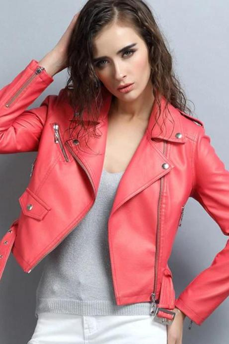 RSS Boutique Trendy Leather Jackets Femme Coral Pink Cropped Jackets 2019 Leather Women Jacks