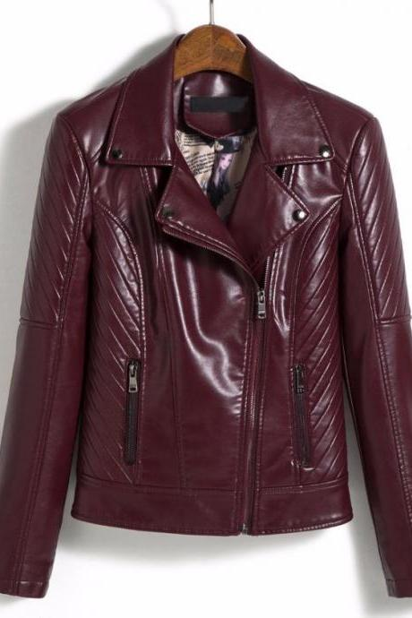 RSS Boutique M-5XL Coats Bikers Best Jackets Rivets Burgundy Jackets Plus Sizes for Women Cropped Red Jacket