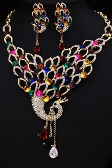 Peacock Wedding Jewelry Set Crystal and Rhinestone Jewellery Set