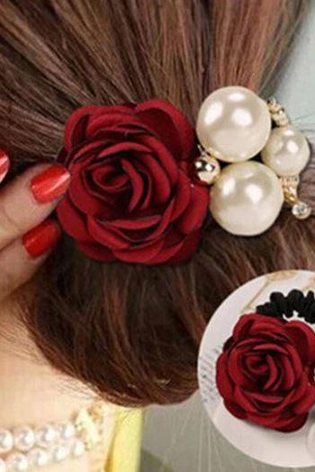 Red Ponytail Wine Hair Accessory with Pearl Headwear for Women