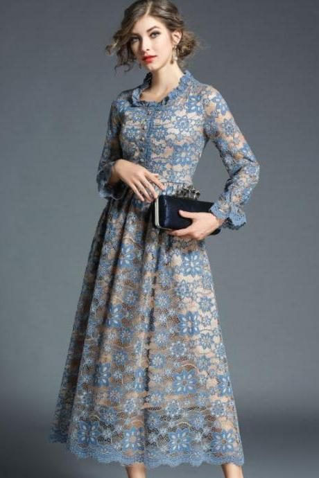 Long Sleeve High Quality Blue Dress for Women Embroidered Vintage Dress Hollow Out