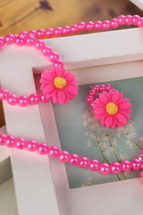 Pink Necklace for Girls with Matching Bracelet and Hair Accessory