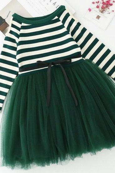 Green Dress for 3T,4T,5T Christmas Dress Striped Tutu Dress Birthday Spring Dress