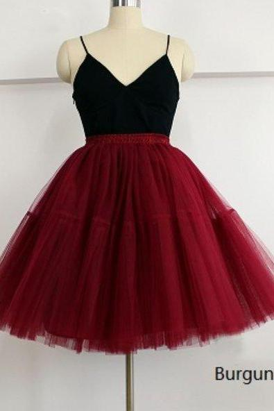 Red Skirts Red Tutu Skirts American Apparel 5 Layers Midi Tulle Red Skirts Tutu Skirt Women's Petticoats