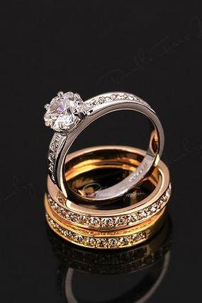 Stackable Rings Set 3 Round Diamond Paved Engagement Ring 18K Gold Plated Luxury Crystals