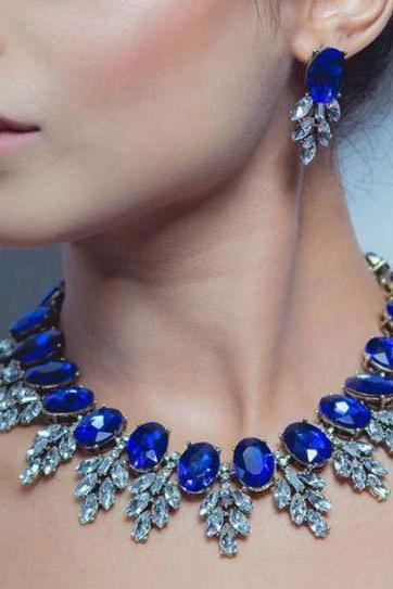 Royal Blue Necklace Royal Blue Choker for Women Royal Blue Bridesmaids Bib Necklaces