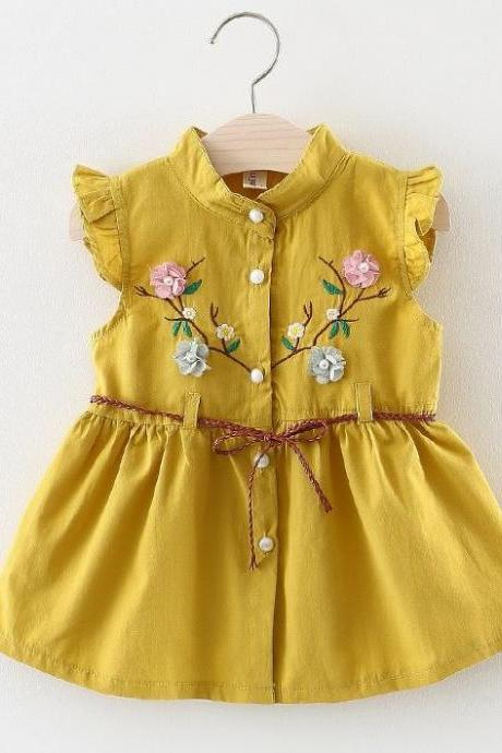 Embroidery Laced Patchwork Yellow Dress Linen Dress for Girls Yellow Summer Dress with Belt