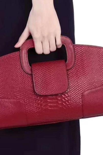 Red Purse Famous Design Snake Pattern Genuine Leather Bag Europe and America Shoulder Red Bags