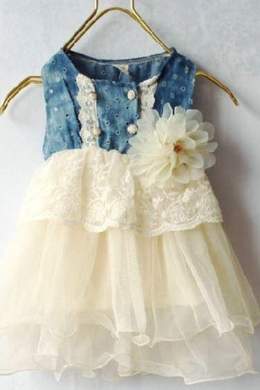 9 Months Ivory Dress for Girls with Ivory Embroidery Laces Floral Corsage