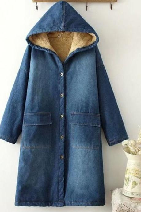 Super Loose Hooded Solid Denim Fur Coats Denim Blue Long Denim Overcoats for Adult Women Plus Sizes Big Women