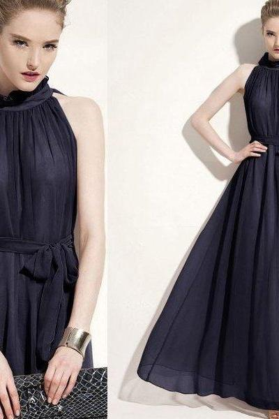 Navy Blue Maxi Dress Navy Blue Tank Dress for Women Sleeveless Gala Dresses