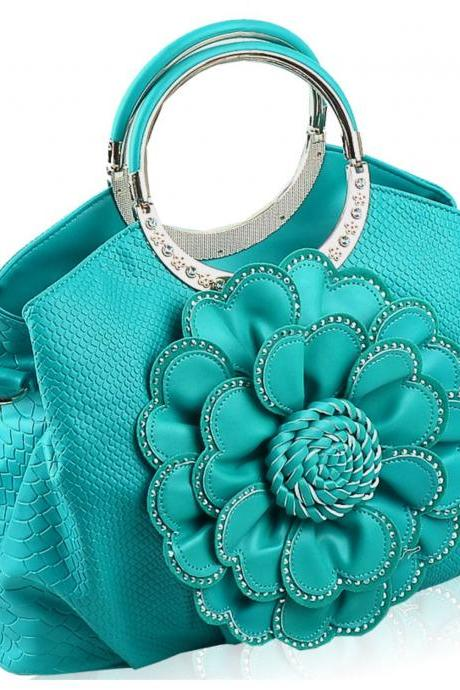 Turquoise bags Turquoise Color Tote bags for Women Floral Aqua Blue Purses