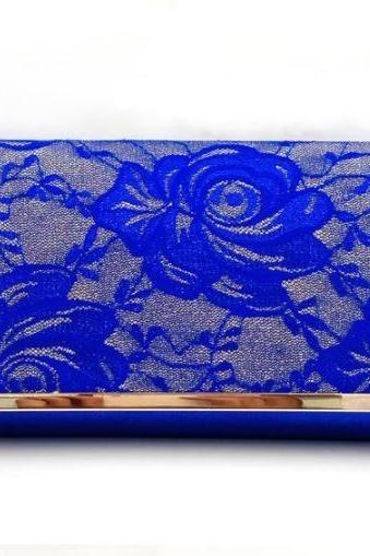 Wedding Clutch, Prom Clutch Birthday Gift Clutch Royal Blue Clutch for Women Embroidery Lacy Clutch