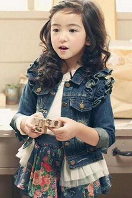 5T Denim Jacket with Pearls and Ruffles for Toddler Girls