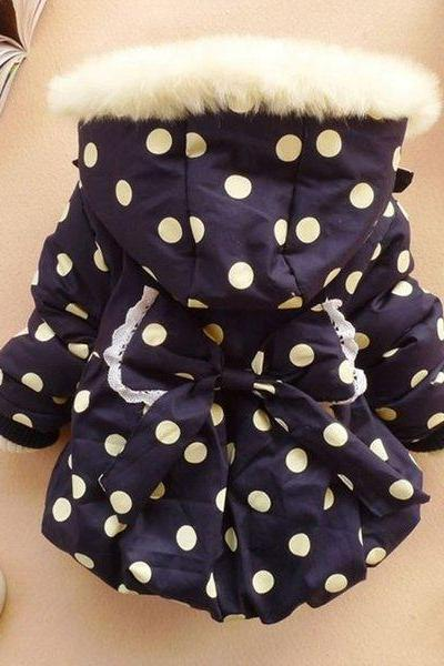 Navy Blue Parkas for 3T Girls with Hood Polka Dots Winter Jacket for Girls